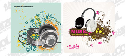 Link to2, headphones theme vector material