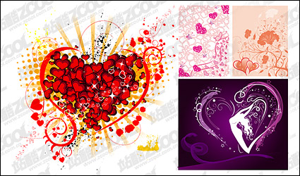 Link to4, the trend of heart-shaped elements of vector material