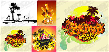 Link to4, coconut trees theme vector material-2
