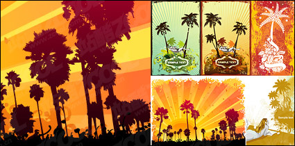 Link toCoconut trees theme vector illustrations material