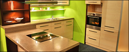 Fashion green tone of the kitchen picture material