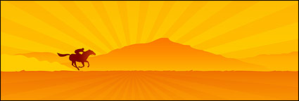 Link toUnder the sunset on horseback to vector material