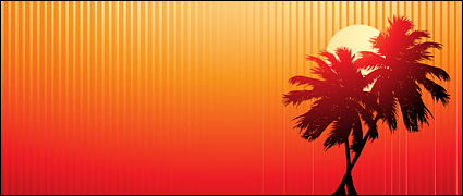 Link toSunset coconut vector video material