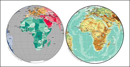 Link toVector map of the world exquisite material - spherical map of africa