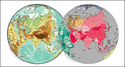 Link toVector map of the world exquisite material - asia spherical map