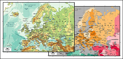 Vector map of the world exquisite material - the European map