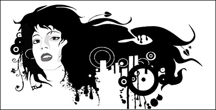 Link toFemale black and white portrait of the trend vector material