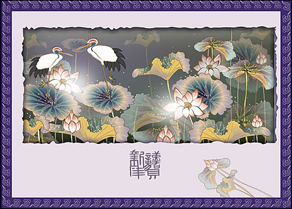 Link toClassical auspicious vector of material - crane lotus plans