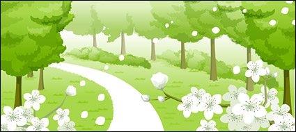 Link toFlowers, cul-de-sac, trees vector