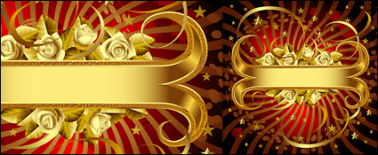 Link toWhite rose and gold banner vector material