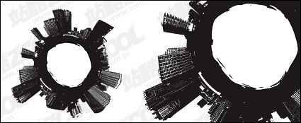 Black and white city vector material