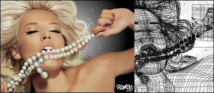 ai realistic rendering of the blonde beauty vector material