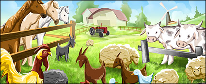 Psd farm cartoon illustrations layered material