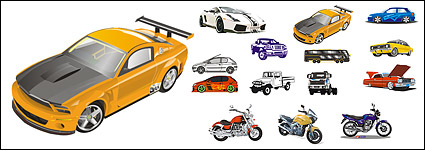 Automobile and motorcycle vector material