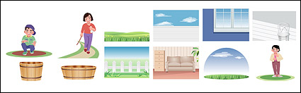 Link toCartoon characters and scenery material vector